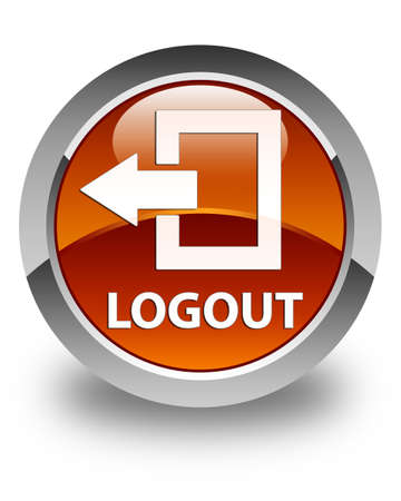 log off: Logout glossy brown round button