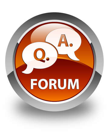 question and answer: Forum (question answer bubble icon) glossy brown round button