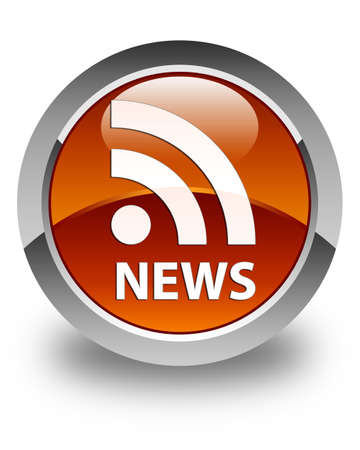 rss icon: News (RSS icon) glossy brown round button