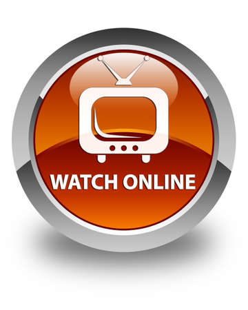 tv station: Watch online glossy brown round button Stock Photo