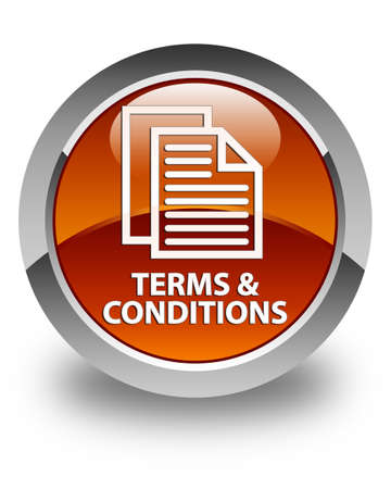 term and conditions: Terms and conditions (pages icon) glossy brown round button