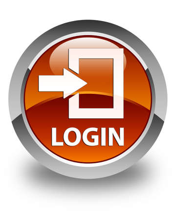 secure site: Login glossy brown round button