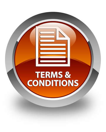 terms: Terms and conditions (page icon) glossy brown round button Stock Photo