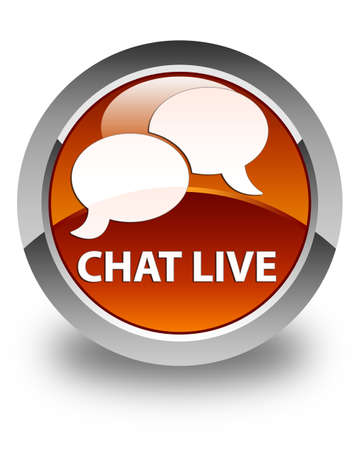 instant message: Chat live glossy brown round button