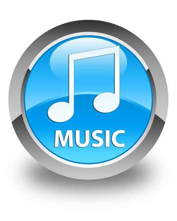 tune: Music (tune icon) glossy cyan blue round button