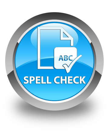 paper spell: Spell check document glossy cyan blue round button