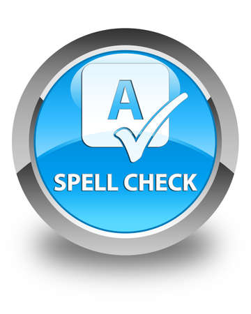 spell: Spell check glossy cyan blue round button