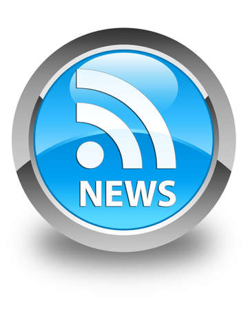 news current events: News (RSS icon) glossy cyan blue round button Stock Photo