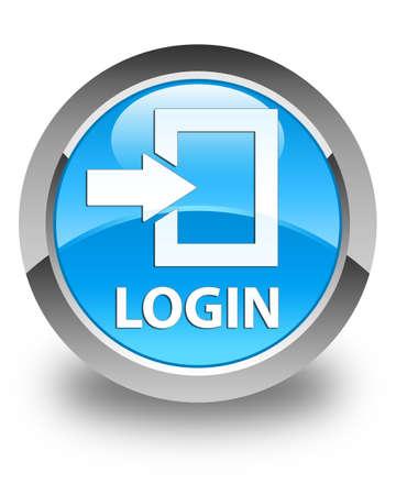 button glossy: Login glossy cyan blue round button