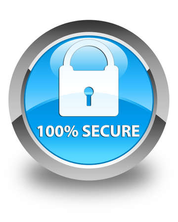 safeguard: 100% secure glossy cyan blue round button