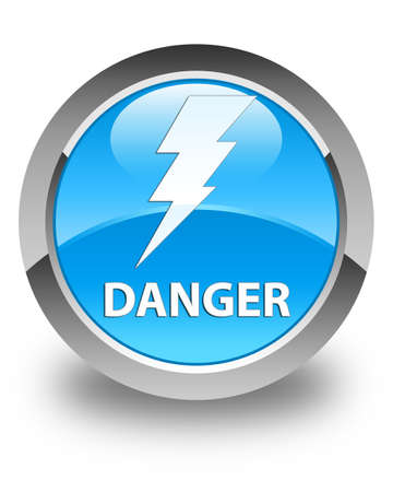 high voltage symbol: Danger (electricity icon) glossy cyan blue round button