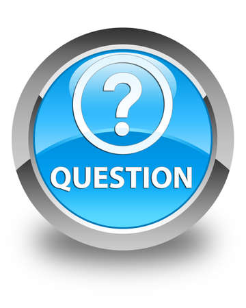 quest: Question glossy cyan blue round button Stock Photo