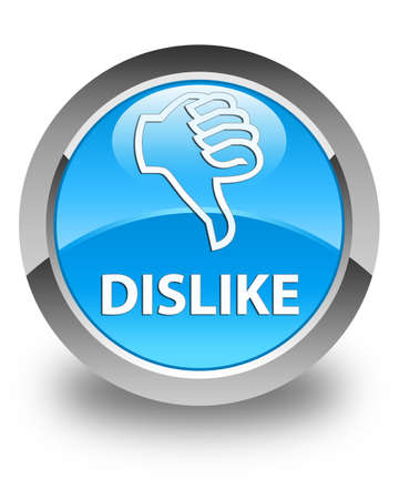 disapprove: Dislike glossy cyan blue round button