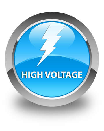 cautious: High voltage (electricity icon) glossy cyan blue round button Stock Photo
