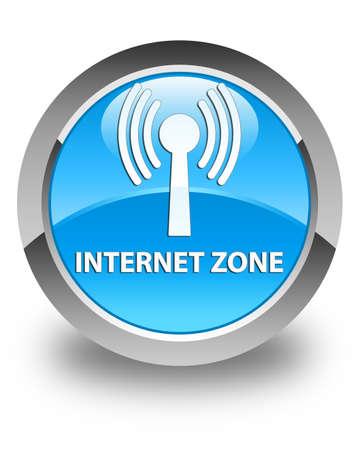 wlan: Internet zone (wlan network) glossy cyan blue round button Stock Photo