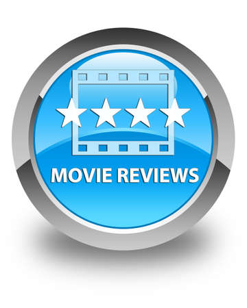 ratings: Movie reviews glossy cyan blue round button Stock Photo