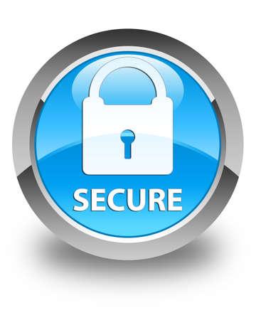 key hole shape: Secure (padlock icon) glossy cyan blue round button