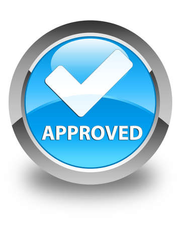 validate: Approved (validate icon) glossy cyan blue round button Stock Photo