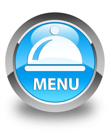cater: Menu (food dish icon) glossy cyan blue round button