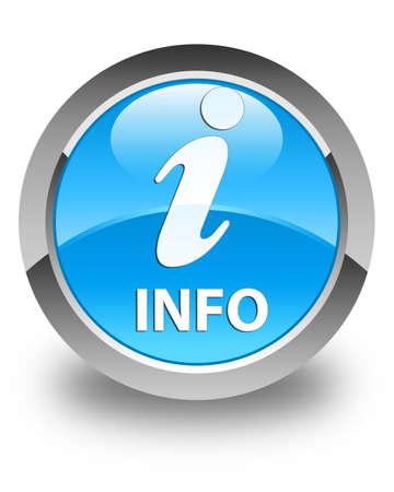 inquiry: Info glossy cyan blue round button