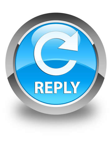 reply: Reply (rotate arrow icon) glossy cyan blue round button Stock Photo