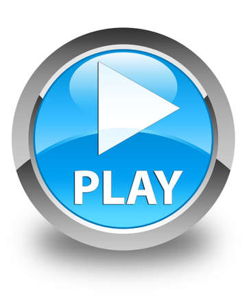 blue button: Play glossy cyan blue round button