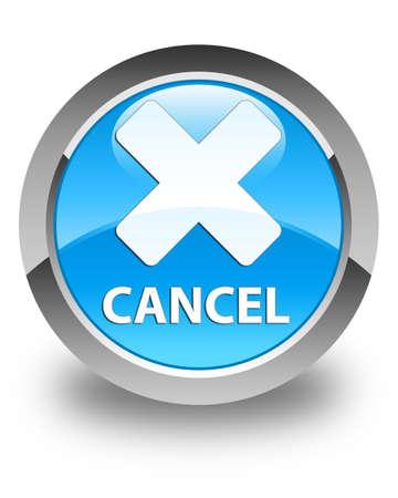 Cancel glossy cyan blue round button Stock Photo