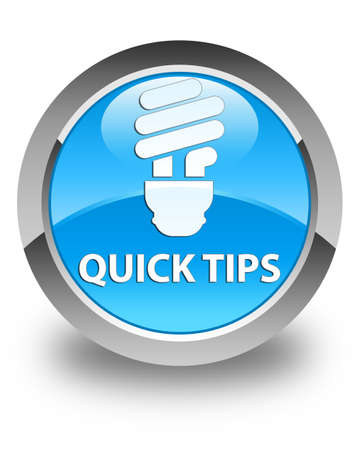 hints: Quick tips (bulb icon) glossy cyan blue round button