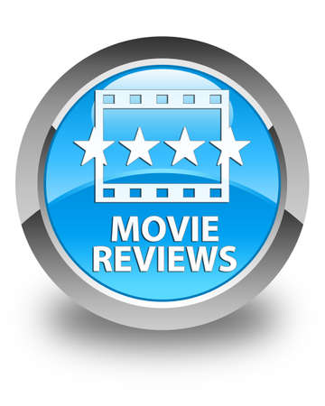 cyan: Movie reviews glossy cyan blue round button Stock Photo