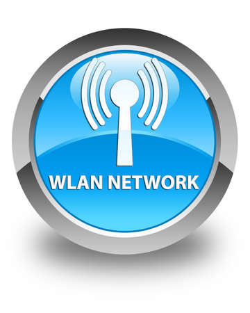 crossover: Wlan network glossy cyan blue round button