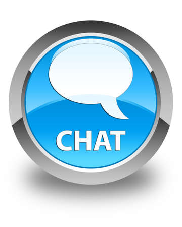 instant message: Chat glossy cyan blue round button