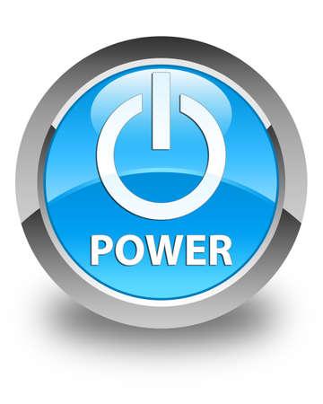 shutdown shut down: Power glossy cyan blue round button Stock Photo