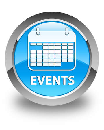 current events: Events (calendar icon) glossy cyan blue round button