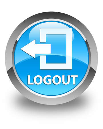 end user: Logout glossy cyan blue round button Stock Photo