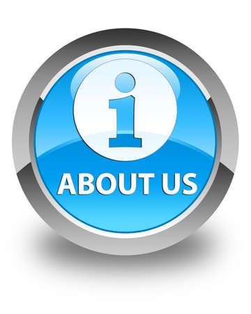 about us: About us glossy cyan blue round button