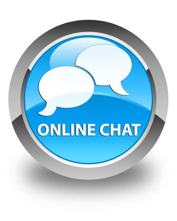 instant message: Online chat glossy cyan blue round button