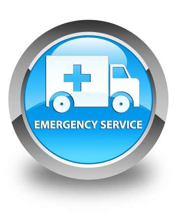 heathcare: Emergency service glossy cyan blue round button