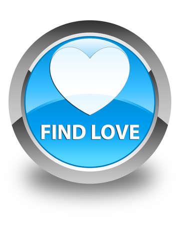 valentin's: Find love glossy cyan blue round button Stock Photo