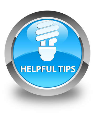 helpful: Helpful tips (bulb icon) glossy cyan blue round button