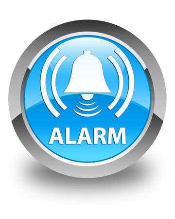 urgency: Alarm (bell icon) glossy cyan blue round button Stock Photo