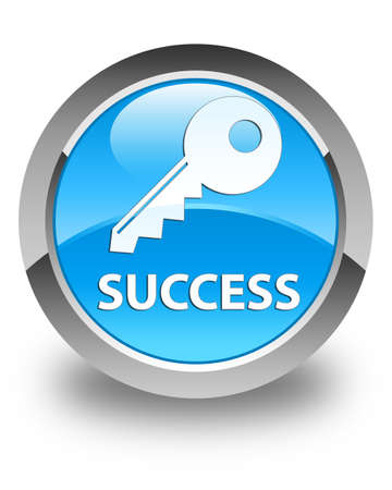 success key: Success (key icon) glossy cyan blue round button Stock Photo