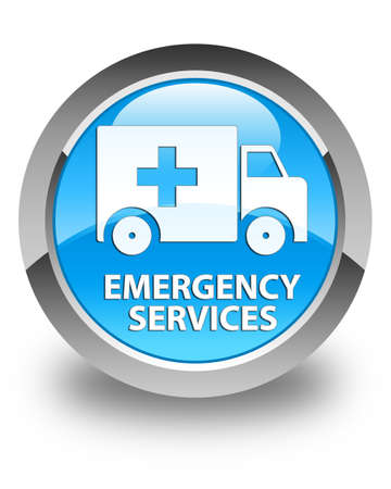 emergency button: Emergency services glossy cyan blue round button