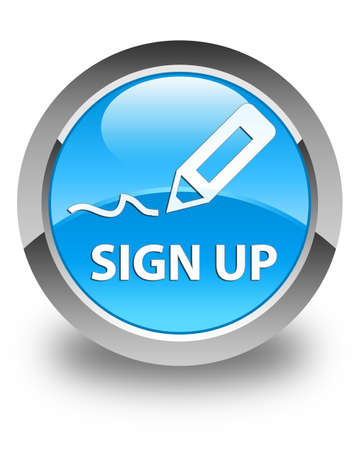 sign up: Sign up glossy cyan blue round button Stock Photo