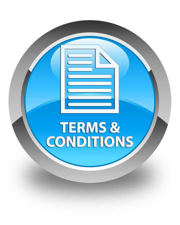 terms: Terms and conditions (page icon) glossy cyan blue round button Stock Photo