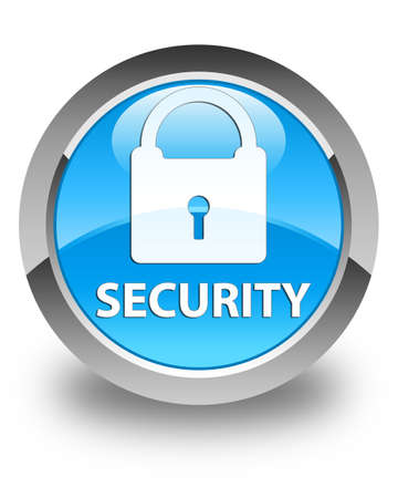 security icon: Security (padlock icon) glossy cyan blue round button