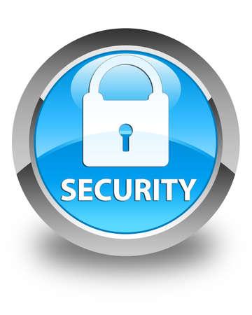 key hole shape: Security (padlock icon) glossy cyan blue round button