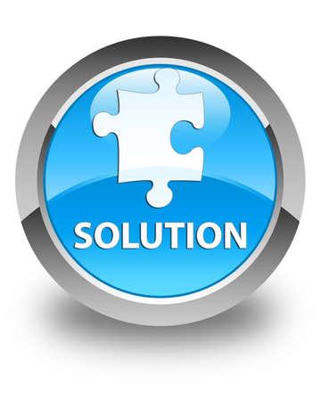 Solution (Puzzle-Symbol) glänzend Cyan blau runde Taste Standard-Bild