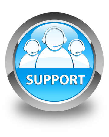 customer care: Support (customer care team icon) glossy cyan blue round button Stock Photo