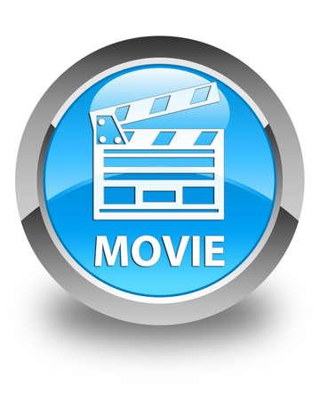 directors cut: Movie (cinema clip icon) glossy cyan blue round button