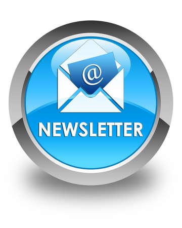 article marketing: Newsletter glossy cyan blue round button Stock Photo